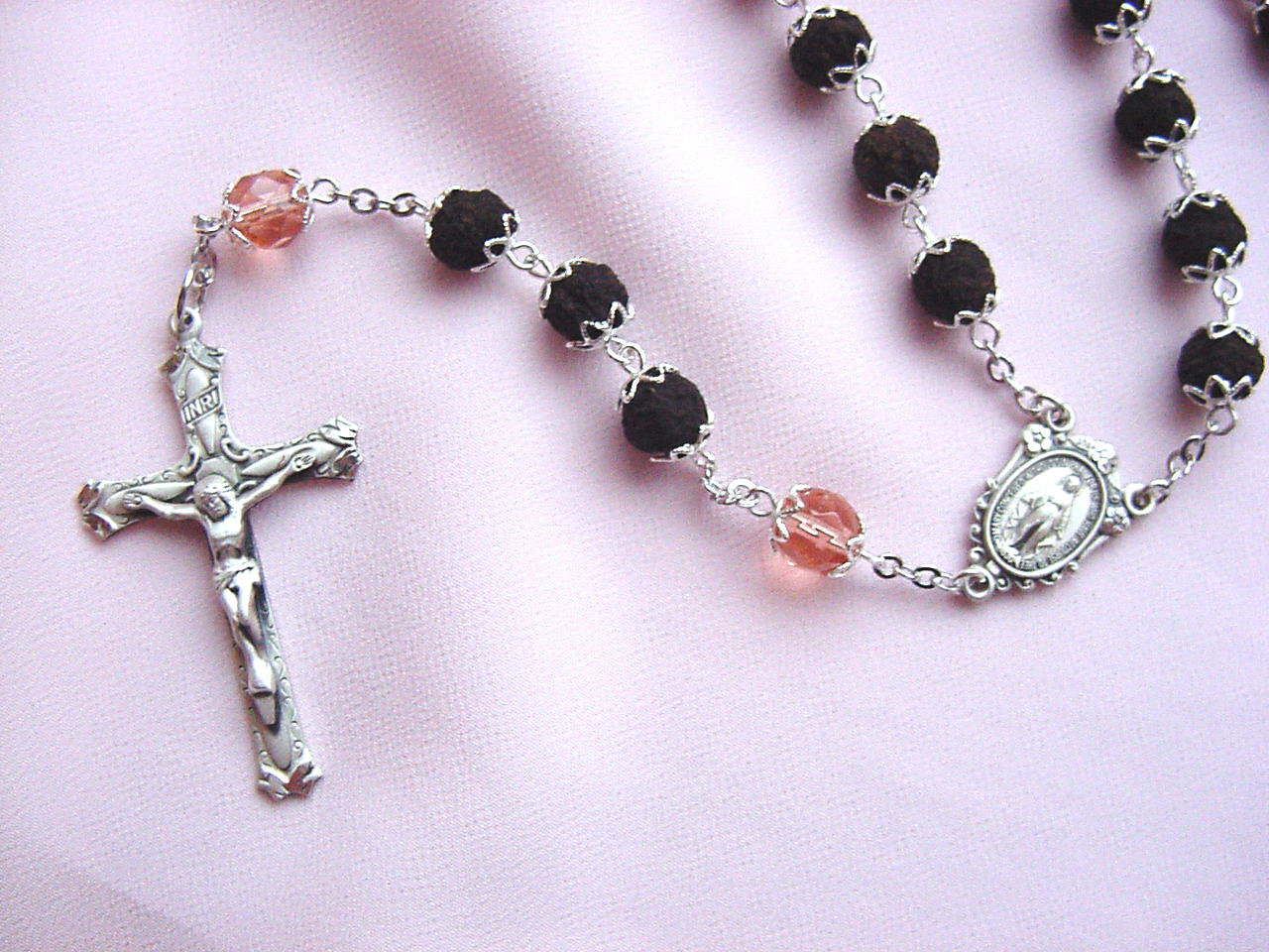 Rose petal rosary 100 rose petal rosary above pictured in sterling silver izmirmasajfo Image collections